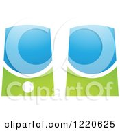 Clipart Of Green And Blue Computer Speakers Royalty Free Vector Illustration