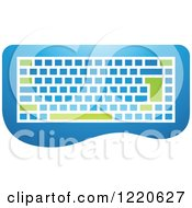 Clipart Of A Green And Blue Computer Keyboard Royalty Free Vector Illustration
