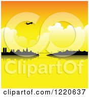 Clipart Of A Silhouetted Airplane Over Istanbul Turkey At Sunset Royalty Free Vector Illustration