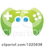 Clipart Of A Green And Blue Video Game Controller Royalty Free Vector Illustration by cidepix