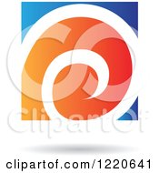 Clipart Of A Floating Blue And Orange Spiral Icon Royalty Free Vector Illustration