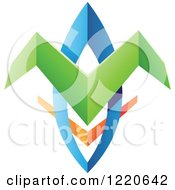 Clipart Of A Colorful Abstract Tribal Shield Icon 2 Royalty Free Vector Illustration by cidepix