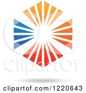 Clipart Of A Floating Red Blue And Orange Ray Hexagon Icon Royalty Free Vector Illustration by cidepix