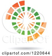 Clipart Of A Floating Abstract Green And Orange Icon 2 Royalty Free Vector Illustration
