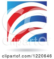 Clipart Of A Floating Abstract Red And Blue Icon Royalty Free Vector Illustration