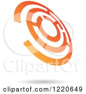 Clipart Of A Floating Orange Circle Maze Icon Royalty Free Vector Illustration
