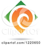 Clipart Of A Green And Orange Abstract Diamond Royalty Free Vector Illustration