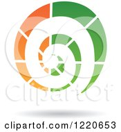 Clipart Of A Floating Green And Orange Spiral Icon Royalty Free Vector Illustration