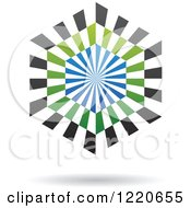 Clipart Of A Floating Green Black And Blue Hexagon Icon Royalty Free Vector Illustration