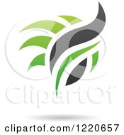 Clipart Of Black And Green Abstract Flames Royalty Free Vector Illustration by cidepix