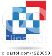 Clipart Of A Floating Abstract Red And Blue Icon 2 Royalty Free Vector Illustration