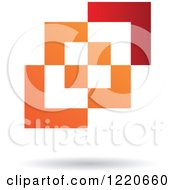 Clipart Of A Red And Orange Abstract Geometric Icon Royalty Free Vector Illustration