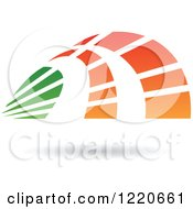 Clipart Of A Floating Abstract Green And Orange Icon 3 Royalty Free Vector Illustration