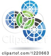 Clipart Of A Floating Green Black And Blue Gears Icon Royalty Free Vector Illustration
