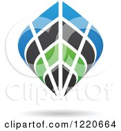 Clipart Of A Floating Abstract Green Black And Blue Icon 3 Royalty Free Vector Illustration