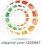 Clipart Of A Floating Green And Orange Tunnel Icon Royalty Free Vector Illustration