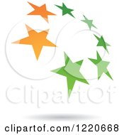 Clipart Of A Floating Green And Orange Star Circle Icon Royalty Free Vector Illustration by cidepix