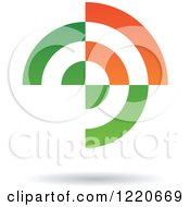 Clipart Of A Floating Abstract Green And Orange Icon Royalty Free Vector Illustration