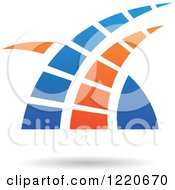 Clipart Of A Floating Blue And Orange Abstract Icon Royalty Free Vector Illustration