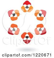 Clipart Of A Floating Abstract Red Black And Orange Circle Icon Royalty Free Vector Illustration