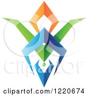Clipart Of A Colorful Abstract Tribal Shield Icon 4 Royalty Free Vector Illustration by cidepix