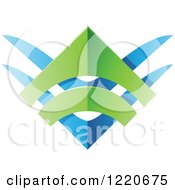 Clipart Of A Blue And Green Abstract Tribal Shield Icon Royalty Free Vector Illustration by cidepix
