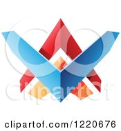 Clipart Of A Colorful Abstract Tribal Shield Icon 3 Royalty Free Vector Illustration by cidepix