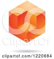 Floating 3d Orange Cube Icon