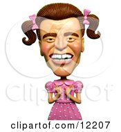 Clay Sculpture Clipart Arnold Schwarzenegger As A Girly Man In A Pink Dress Royalty Free 3d Illustration by Amy Vangsgard #COLLC12207-0022