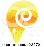 Clipart Of A Reflective Yellow Ram Royalty Free Vector Illustration