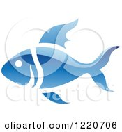 Clipart Of A Reflective Blue Fish Royalty Free Vector Illustration