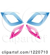 Clipart Of A Reflective Pink And Blue Butterfly Royalty Free Vector Illustration by cidepix