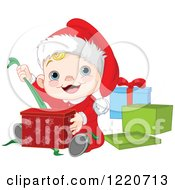 Clipart Of A Happy Caucasian Baby Boy Opening Christmas Presents Royalty Free Vector Illustration