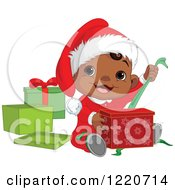 Clipart Of A Happy African American Baby Boy Opening Christmas Presents Royalty Free Vector Illustration by Pushkin