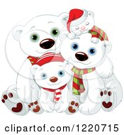 Clipart Of A Cute Christmas Polar Bear Family With Scarves And Hats Royalty Free Vector Illustration