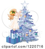 Clipart Of A Cute Little Angel Stepping On Gifts And Decorating A Christmas Tree Royalty Free Vector Illustration