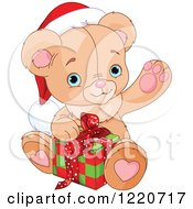 Clipart Of A Cute Christmas Teddy Bear Waving And Opening A Present Royalty Free Vector Illustration