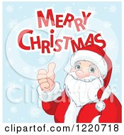 Merry Christmas Greeting Over Santa Holding A Thumb Up On Blue With Snowflakes