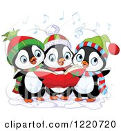 Clipart Of A Trio Of Cute Penguins Singing Christmas Carols Royalty Free Vector Illustration