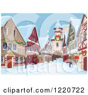 Clipart Of A Christmas Village Alley On A Winter Day Royalty Free Vector Illustration