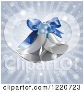 Clipart Of Silver Christmas Bells Over Rays And Snowflakes Royalty Free Vector Illustration