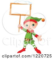 Clipart Of A Cute Christmas Elf Holding Up A Snowy Sign Royalty Free Vector Illustration by Pushkin
