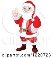 Clipart Of Santa Holding A Thumb Up For Christmas Royalty Free Vector Illustration