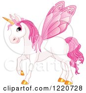 Clipart Of A Magical Fairy Unicorn Horse With Pink Wings Royalty Free Vector Illustration by Pushkin