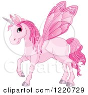 Clipart Of A Magical Pink Fairy Unicorn Horse With Wings Royalty Free Vector Illustration by Pushkin