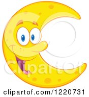 Clipart Of A Happy Crescent Moon Mascot Royalty Free Vector Illustration