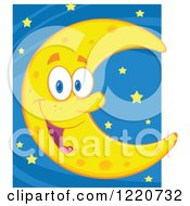 Clipart Of A Happy Crescent Moon Mascot Over Stars Royalty Free Vector Illustration