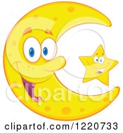 Clipart Of A Happy Crescent Moon And Star Mascot Royalty Free Vector Illustration