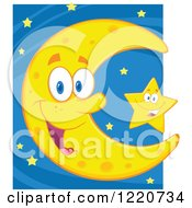 Clipart Of A Happy Crescent Moon Mascot And Star Royalty Free Vector Illustration