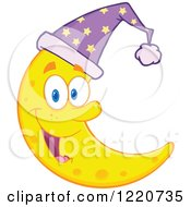 Clipart Of A Happy Crescent Moon Mascot Wearing A Night Cap Royalty Free Vector Illustration